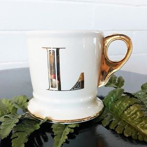 Anthropologie Monogram L Mug with Gold Accent